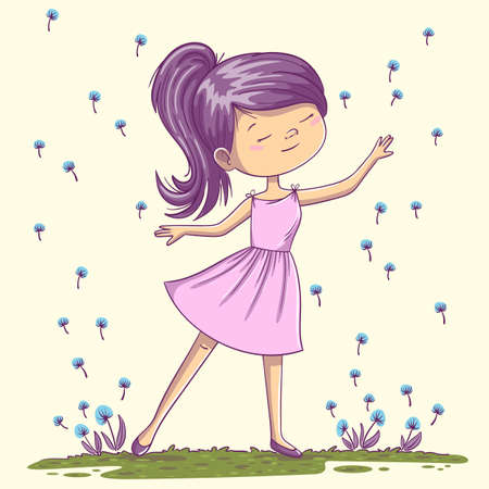 Little dancing girl. Hand drawn vector illustration with separate layers.