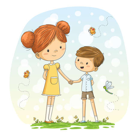 Little girl and boy on a meadow. Hand drawn vector illustration with separate layers.