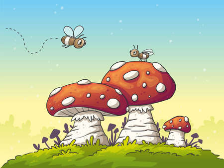 Two cartoon flies on mushrooms. Hand drawn vector illustration with separate layers.