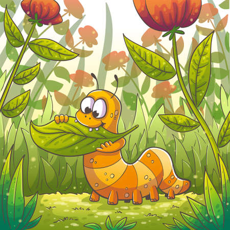 Little caterpillar eats a leaf Hand drawn vector illustration with separate layers.