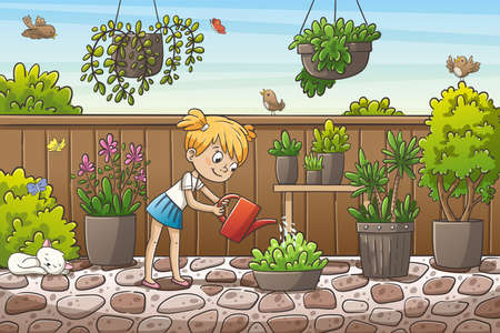 Little girl watering flowers in the garden. Hand drawn vector illustration with separate layers.