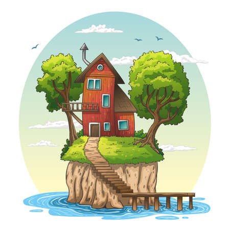 Red house on an island. Hand drawn vector illustration with separate layers. 일러스트