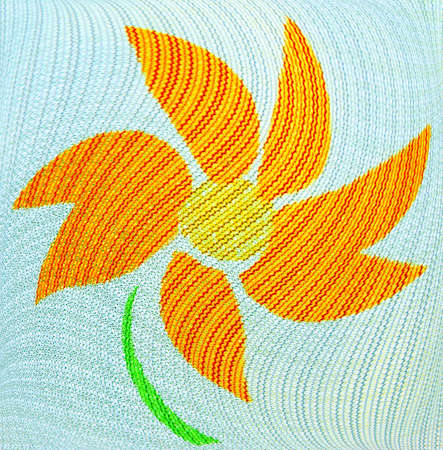 emphasizes: The beautiful structure of an easy fabric, figure of a flower, harmoniously emphasizes graceful bends of lines of a background. Stock Photo