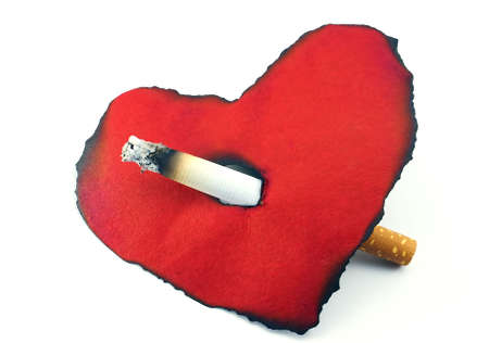 Red heart, a black tobacco aura, a cigarette, a white background.                  photo