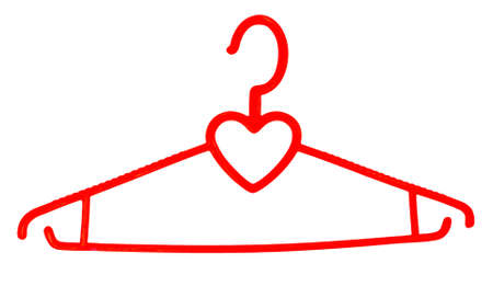 subject: A plastic hanger for clothes, with a silhouette of heart, a subject on a white background.              Stock Photo