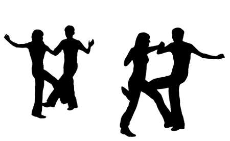 fascinação: Black silhouettes of dancings young people on a white background.