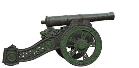 An ancient French gun, the weapon of Napoleon. One thousand eight hundred twelfth. Object on a white background. photo