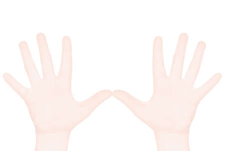 Illustration. Two hands of man on a white background, gesture of the glad greeting. Background for a text.  illustration