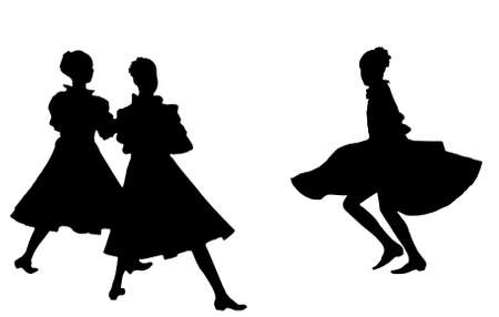 Black silhouettes of three dancing girls on a white background. An illustration. illustration