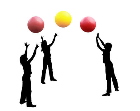An abstract illustration. Silhouettes of girls playing the volleyball, three balls. Black figures, color balls, a white background.  illustration