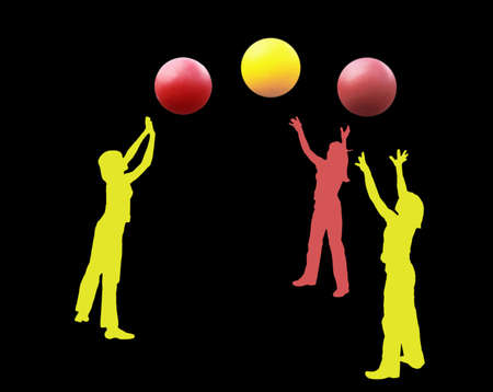 circus performers: An abstract illustration. Silhouettes of girls of circus performers with three balls. Color figures, a black background.