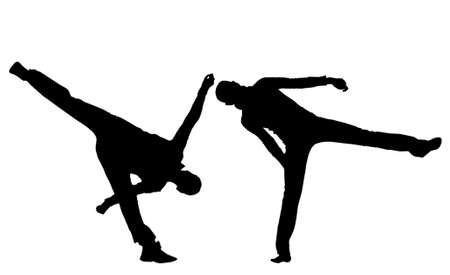 Black silhouettes of people of carrying out are sporting dance, original poses, clean white background. Abstract illustration.                 illustration