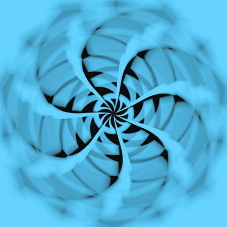 Abstract illustration, the rotation of blue fan counterclockwise.  illustration