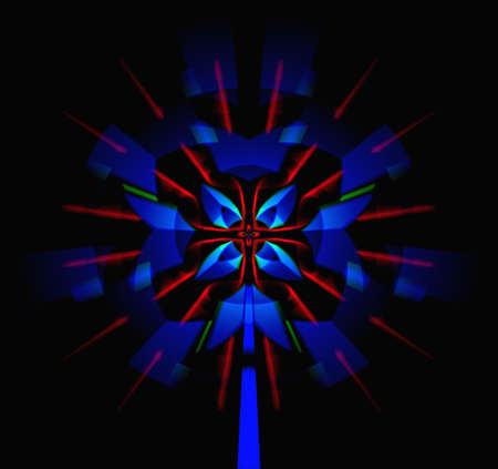 Abstract illustration. Magic of the symmetry of dark-blue crystals and red rays. illustration