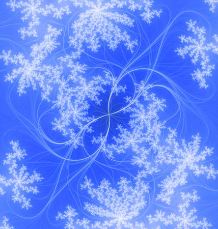 Abstract blue background, tender pattern from the thin lines and the soft snowflakes.  Stock Photo - 3312700