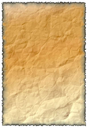 chronicle: Background for the image or the text. Trying, crumpled paper with the burnt edges.  Stock Photo