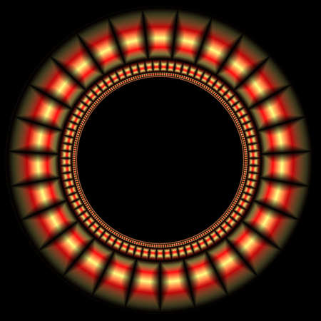 Round volumetric framework for the photo or the text. Red crystals - black background.  photo