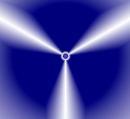 sectores: Las palas de la h�lice dividir fondo azul oscuro en tres sectores. Ilustraci�n.