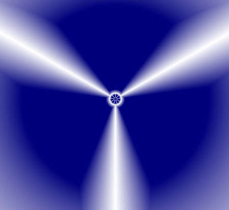 sectors: The blades of propeller divide dark-blue background in three sectors. Illustration.