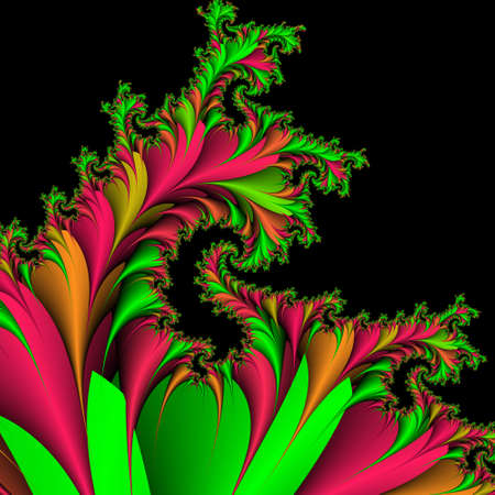formulation: Decorative background, pattern from the bright colors and leaves against the black background.