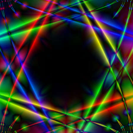 intersect: Abstract illustration. Many-colored light rays intersect against the background night.  Stock Photo
