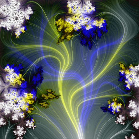 Fountain of light blue and yellow lines and white flowers. Cork background. photo