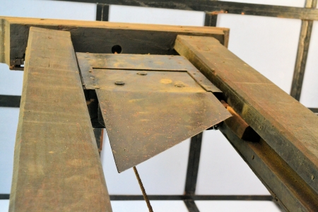 beheading: An old Guillotine used for executions by beheading in the French revolution