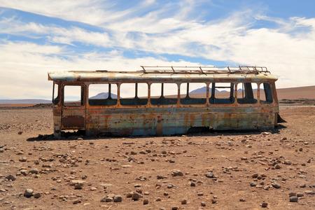 Abandoned bus in the desert, Atacama, Chile, Bolivia