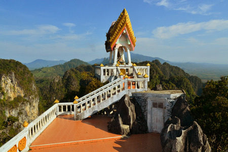 View from Buddhist mountain peak Tiger Temple (Wat Tham Sua) - South Thailand, Krabi photo