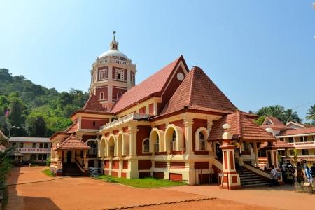 shree: Shri Shantadurga,famous hindu Temple in Ponda, Goa, India with a mix of Indian and Portuguese architecture Stock Photo