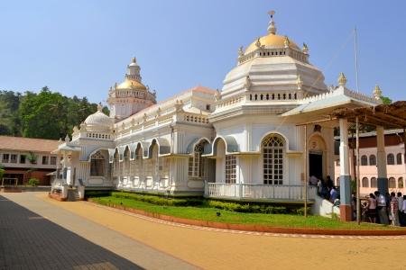 karnataka culture: Shri Mangeshi,famous hindu Temple in Mardol, Goa, India with a mix of Indian and Portuguese architecture Stock Photo