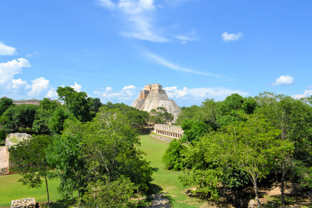Anicent mayan pyramid of the Magician, Adivino in Uxmal, Yucatan, Mexico photo