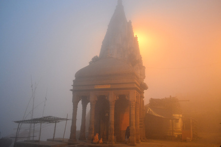 Early morning at Ghat in holy Ganges River, BenaresVaranasi, India photo