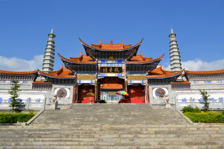 Confucius temple in front of mountains in Dali, Sichuan, China