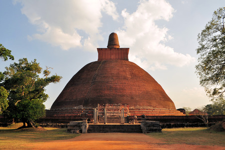 dagoba: Ruined Buddhist Jetavaranama Red Brick Dagoba Stupa, Anuradhapura, Sri Lanka