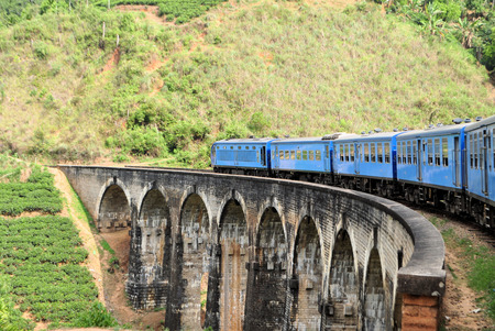 A Train passing on a bridge in the hill