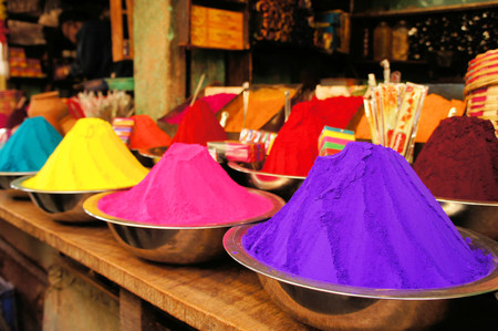 dye powder: Bowls of vibrant dyes, colors for Holi in India