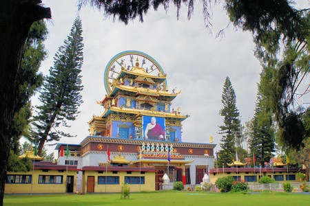 Golden temple at the largest Tibetan refugee settlement in Bylakuppe, Karnataka, India photo