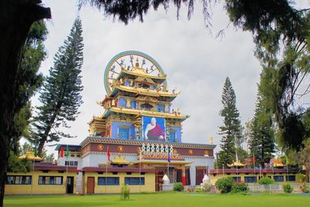 Golden temple at the largest Tibetan refugee settlement in Bylakuppe, Karnataka, India photo