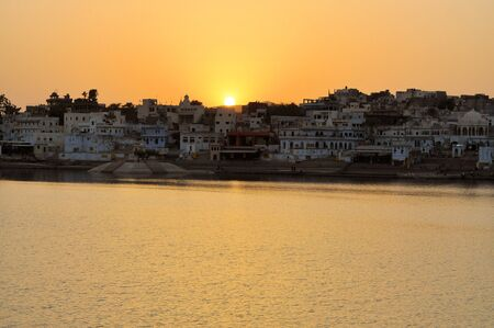 ghat: Hindu bathing Ghats at the holy lake of the sacred city of Pushkar in Rajasthan, India