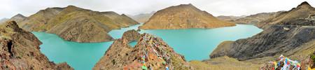 Yamdrok-tso lake near Gyantse in Tibet shines in a mystic blue
