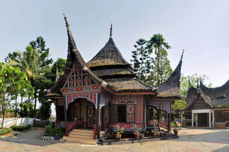 sumatra: A heritage wooden house built in traditional style of greater Sunda island West Sumatra, Indonesia