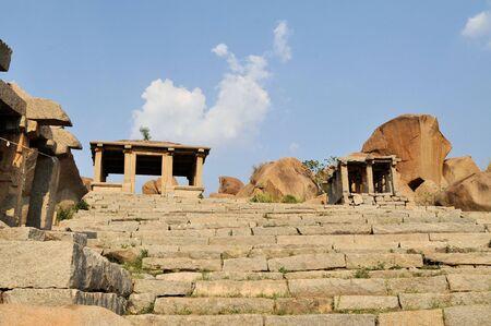 civilization: Ruins of Ancient Hindu civilization Vijayanagar in Hampi Bazaar, Karnataka, South India