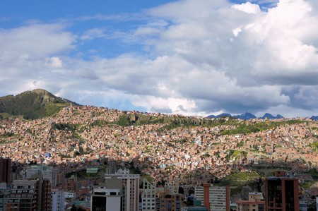 facto: The city of La Paz high in the Andes Mountains is the de facto capitol of Bolivia Stock Photo