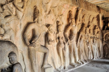 mamallapuram: Mytholical Hindu Stone inscriptions in a cave in Mamallapuram, Tamil Nadu, India Stock Photo