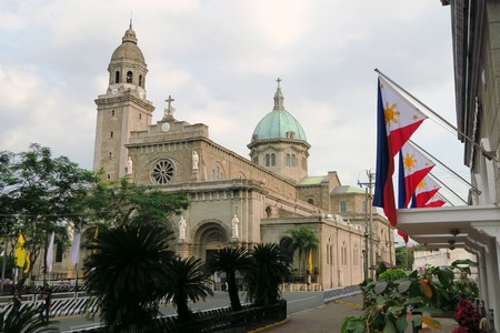 spaniards: Manila Cathedral located in the Intramuros district of Manila , Philippines