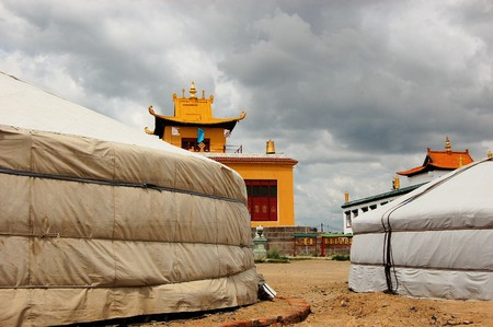 ger: Gandan Monastery outside main temple with traditional Ger tents in Ulan Bator, Mongolia