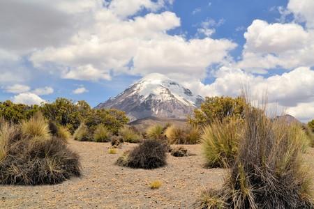 crater highlands: Vista panor�mica del grupo volc�nico. Grupo volc�nico Payachata entre el Parque Nacional Sajama, Bolivia y el Parque Nacional Lauca, Chile en la cordillera de los Andes