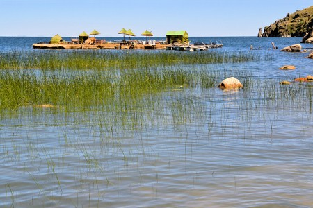 lake dwelling: Traditional Floating Island on the Bolivian Side of Lake Titicaca shared by the countries of Peru und Bolivia, near Copacabana, Bolivia