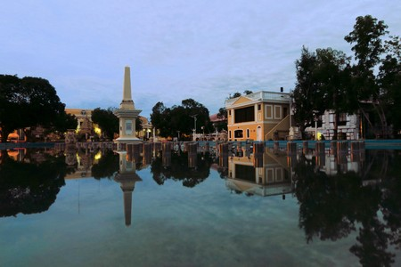 historic place: Colonial Plaza Salcedo in town of Vigan, Philippines
